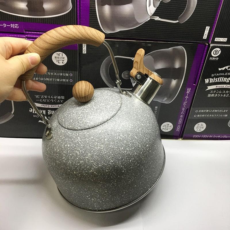 出口日本304不鏽鋼黑色烤漆2L小燒水壺煤氣電磁爐鳴笛叫壺熱水壺