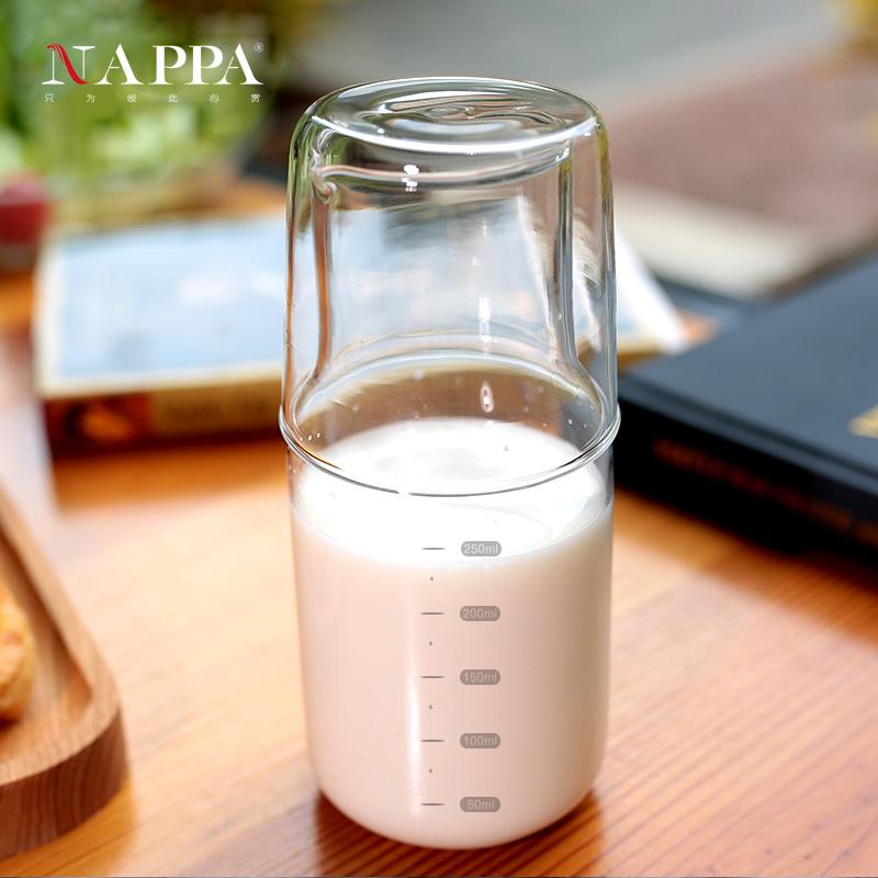NAPPA兒童牛奶杯水杯  耐熱玻璃冷水壺一壺一杯兩件套 床頭杯凉杯