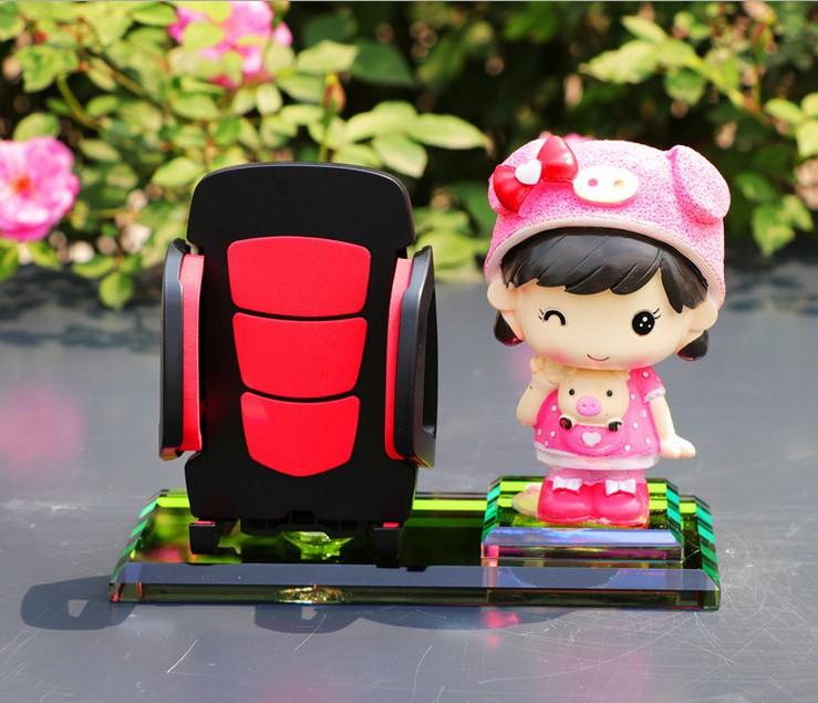 手机座汽车摆件车载内饰品车载手机支架卡通摇头娃娃香水座