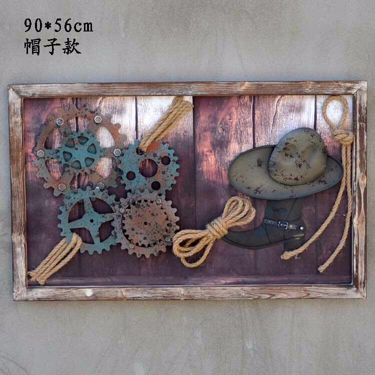美式船舵船锚复古创意挂饰齿轮墙上装饰品餐厅酒吧网咖墙面挂件
