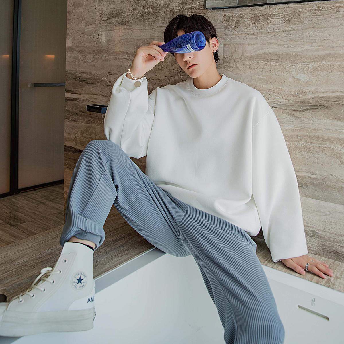 x  联名设计感上衣白色圆领裂痕卫衣男 ERRO CHENGGUANG WANG CHIC
