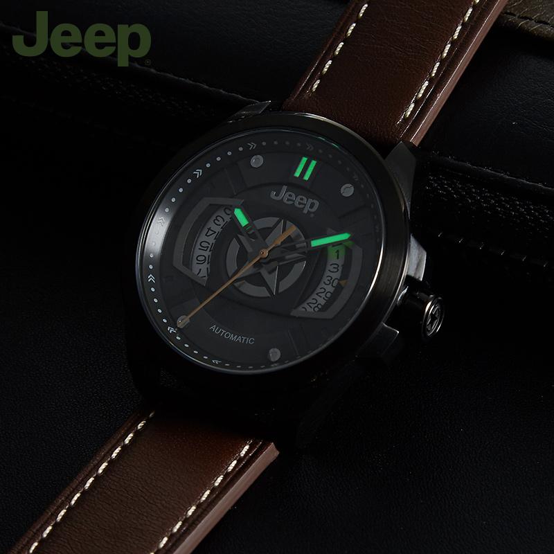 jeep吉普手表男JPG9000防水夜光日历皮带休闲自动机械表官方正品