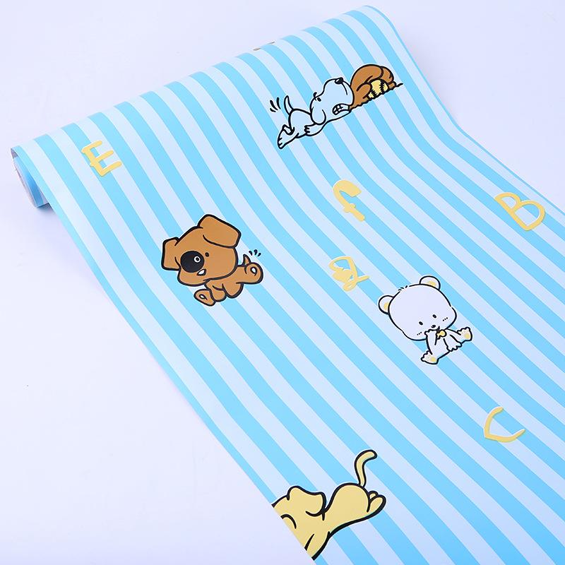 卡通大胖背胶墙纸男孩房间叮当猫蓝色动漫海绵宝宝壁纸 pvc 幼儿园