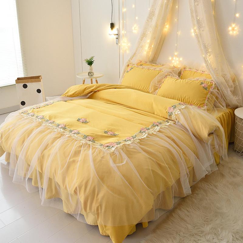 韩版真丝床裙式少女心床上用品