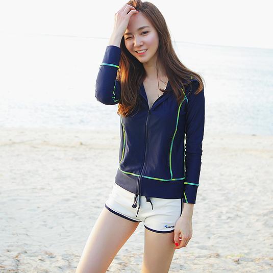 运动风衣女韩国透气速干弹力撞色健身服连帽夏季冰丝外套防晒衣薄