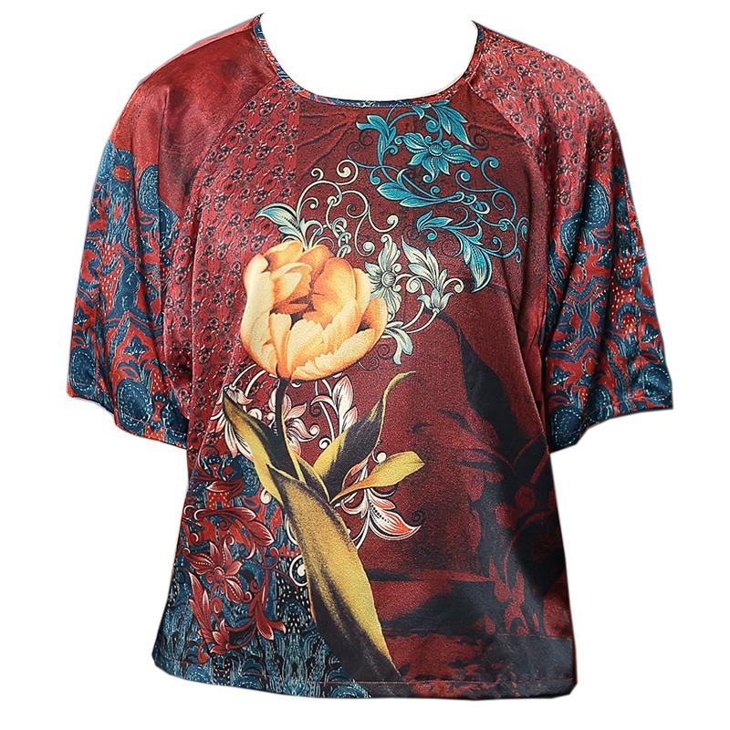 宛香丝杭州真丝上衣女短袖t宽松妈妈夏装桑蚕丝绸缎面T恤大码气质