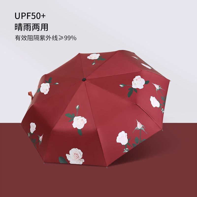 漫记太阳伞防晒防紫外线全自动折叠雨伞女晴雨两用红伞遮阳伞小巧 - 图2
