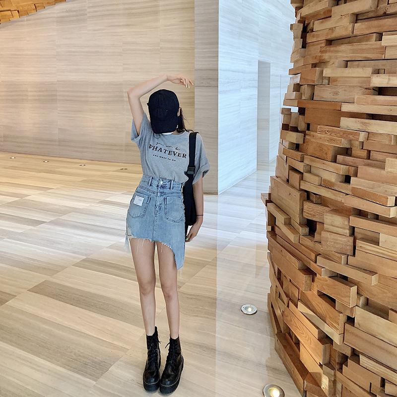 不规则牛仔裙半身裙港味短款裙子2020新款修身显瘦高腰包臀裙女夏