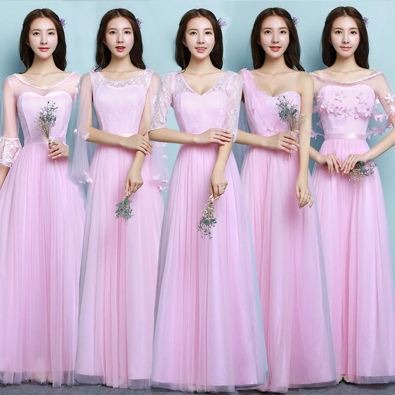 伴娘服长款2019新款中袖姐妹裙主持人毕业小礼服显瘦香槟色连衣裙