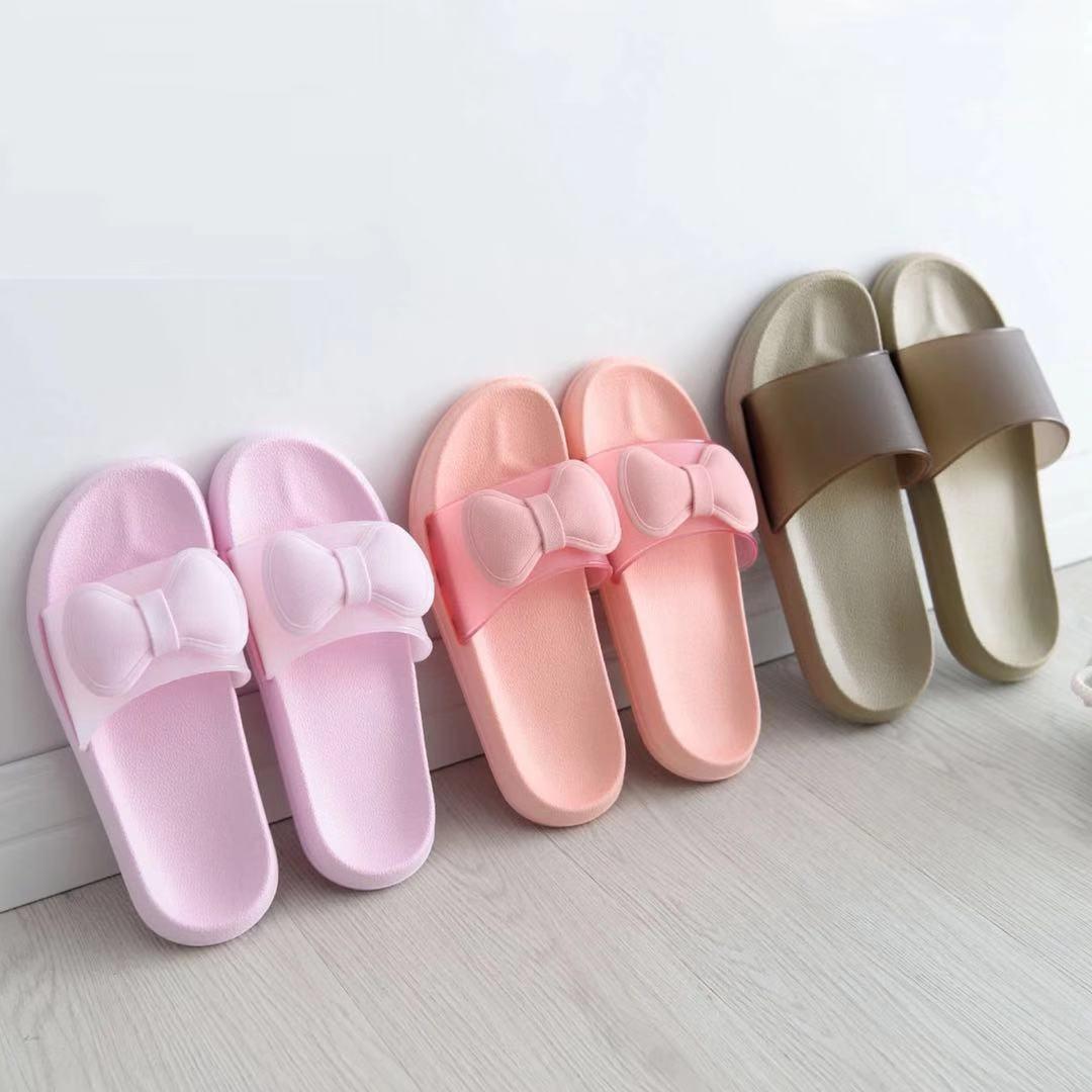 夏季可愛蝴蝶結家居家用男女洗澡涼拖鞋室內情侶防滑浴室拖鞋