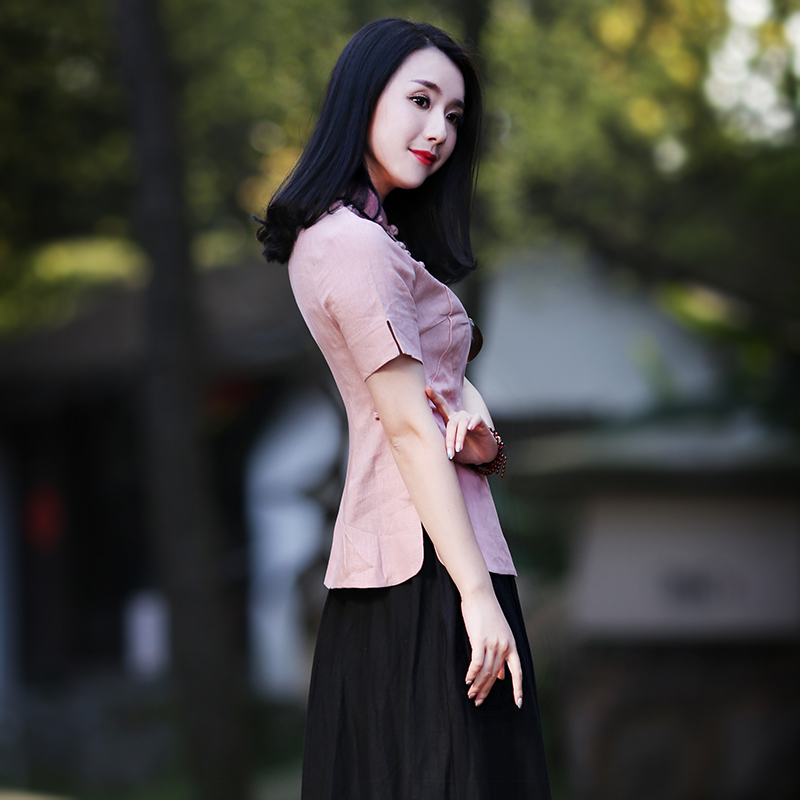 如意风新款唐装上衣女夏改良汉服中国风复古棉麻旗袍民族风茶服