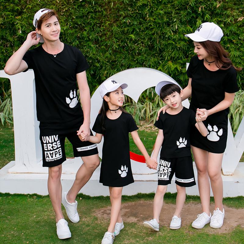 六一亲子运动套装夏天姐弟装夏装洋气亲自一家三口五口亲子照服装