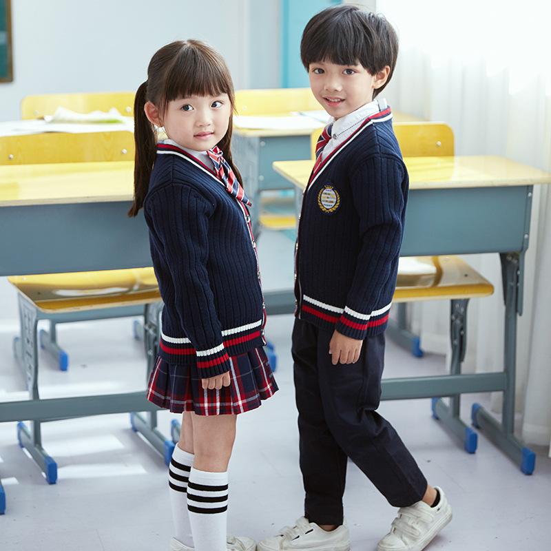 秋季英伦学院风小学生宝宝校服幼儿园服毛衣套装儿童男女童三件套