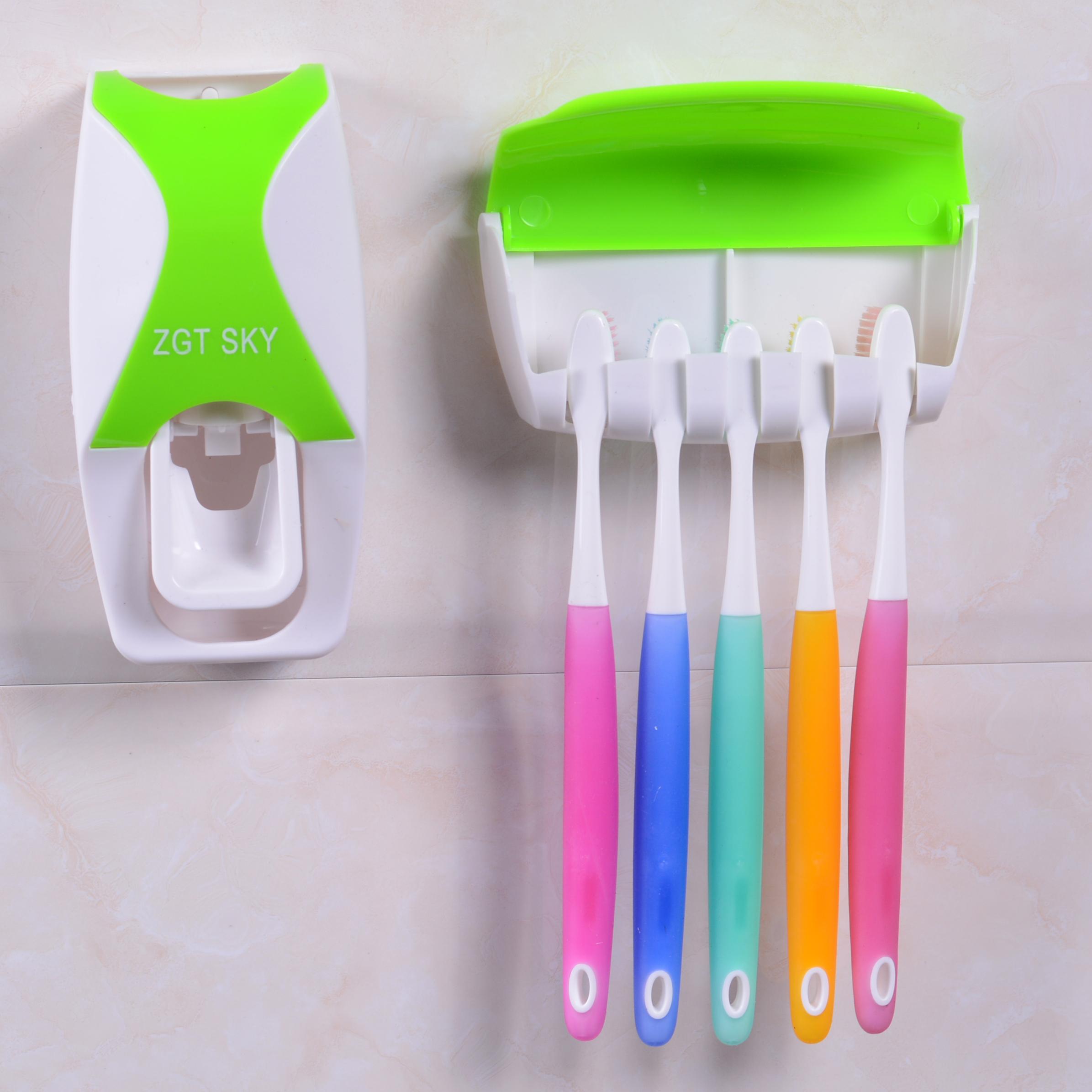 包邮全自动挤牙膏器带防尘牙刷架韩款懒人牙膏挤压器套装创意家居