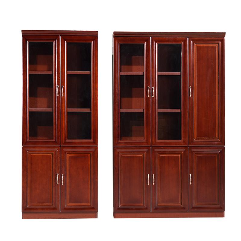 辦公家具文件柜檔案資料柜實木皮書柜辦公室隔斷柜儲物柜帶玻璃門