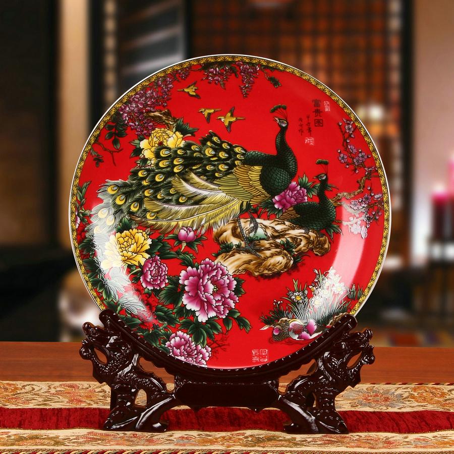 包邮 景德镇陶瓷器 珐琅彩牡丹孔雀挂盘装饰盘家居工艺装饰摆件