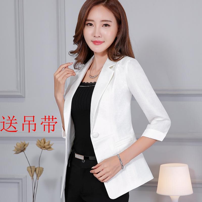 薄款亚麻中袖白色小西装女外套新款短款休闲百搭修身显瘦春夏上衣