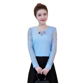 2017秋冬装新款女装蕾丝打底衫长袖女T恤韩版百搭上衣短款雪纺衫