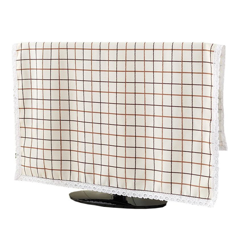 格子印花挂式电视机罩防尘罩布艺壁挂式液晶电视机防尘布电视套55