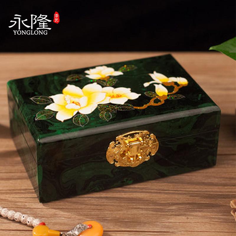 平遥手工彩绘木质推光漆器首饰盒结婚礼物带锁实木收纳新婚礼品盒