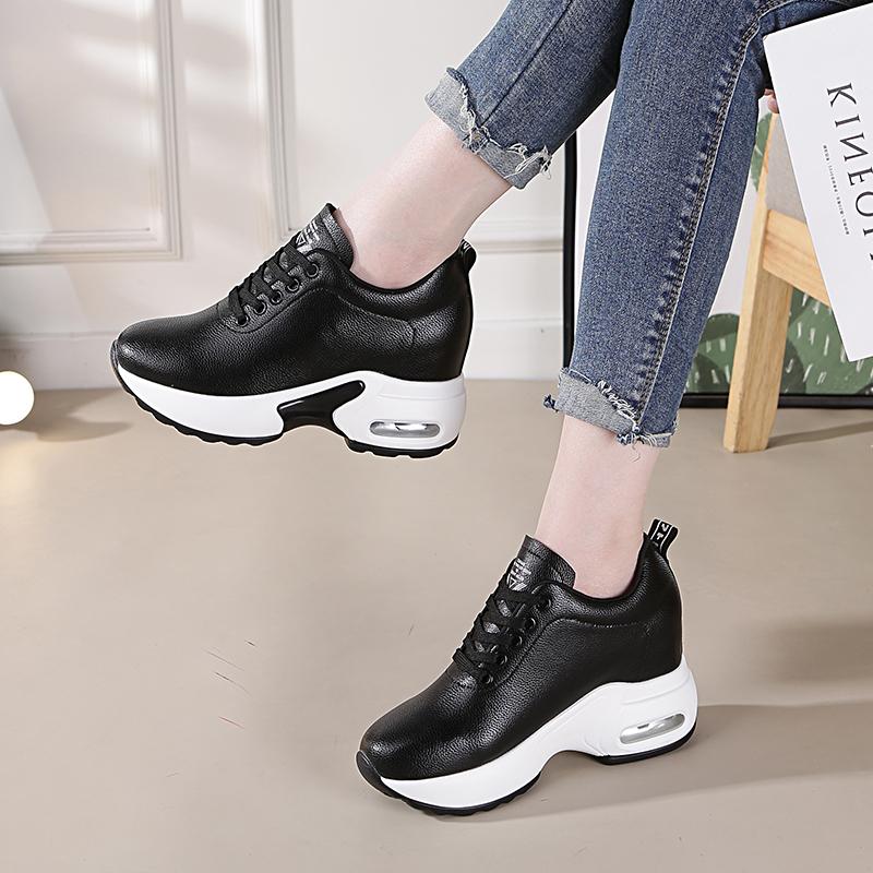 2020春季内增高女鞋运动鞋女透气黑色新款休闲鞋旅游厚底夏季网鞋