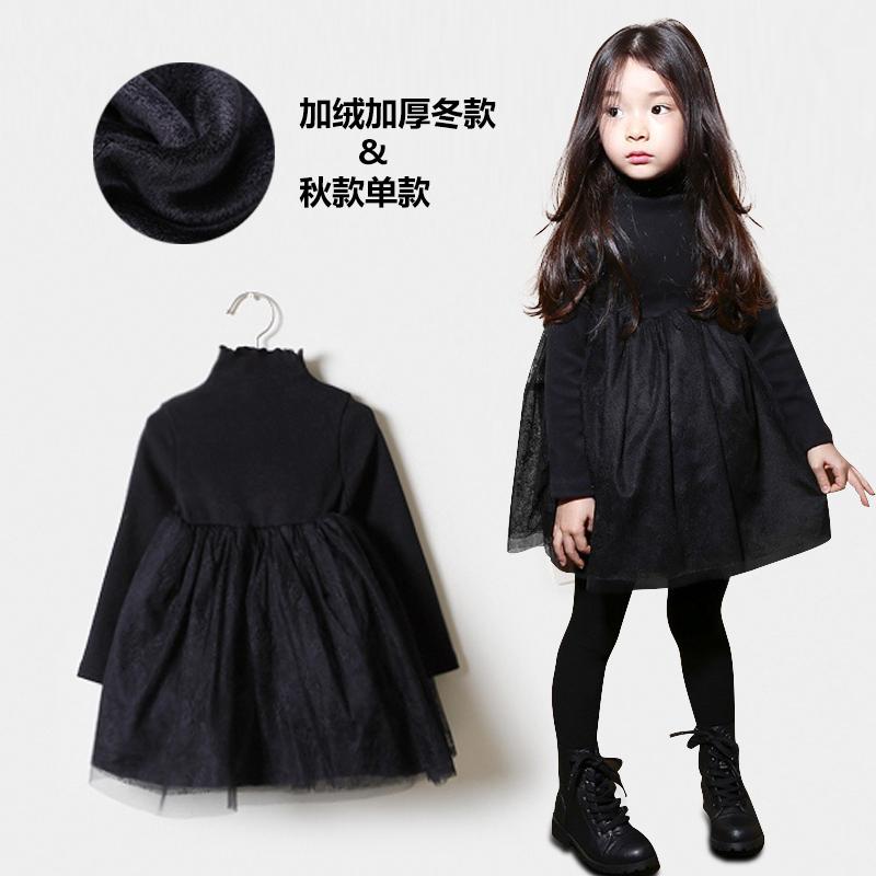 女童加绒连衣裙秋装新款长袖小女孩礼服公主裙中大童洋气蓬蓬裙子