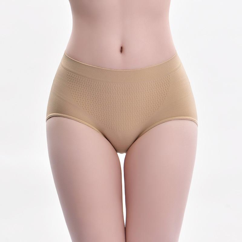 3条装女士纯棉裆蜂巢暖宫内裤 性感提臀塑形美体内裤