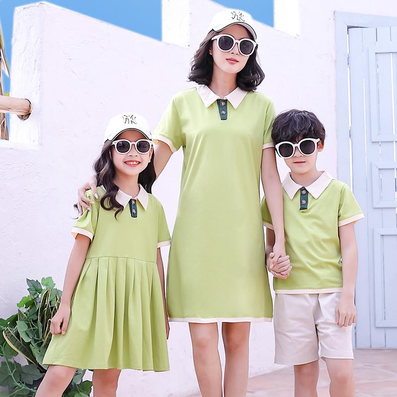 网红亲子装 新款夏季一家三口四口母子洋气短袖套装母女连衣裙  2020