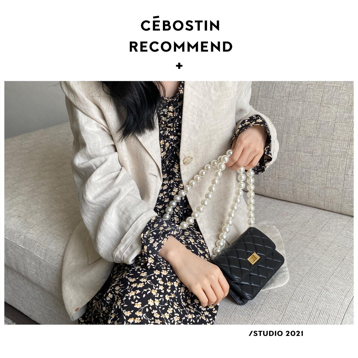 小香风珍珠链条包高级感时尚单肩斜挎包包女 腹肌商店   菱格包