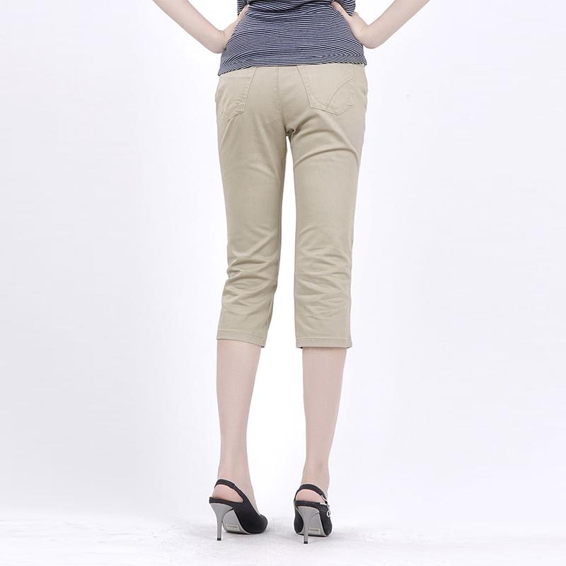 中老年宽松七分裤休闲女裤白色妈妈裤棉质弹力高腰直筒薄款九分裤