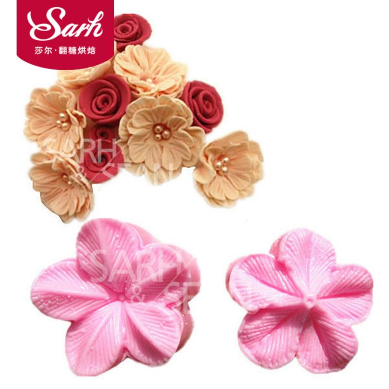玫瑰郁金香牡丹花瓣纹路夹模翻糖模具硅胶立体印花模压模双面印