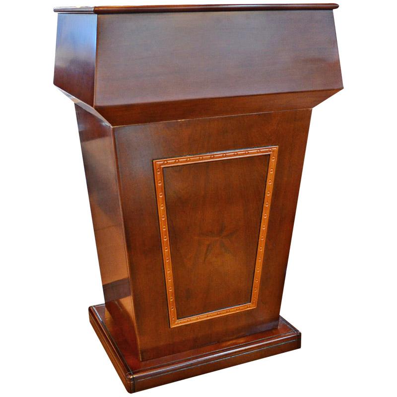 乐威轩 实木皮讲台演讲台 导购台迎宾台简约现代会议室教师可移动