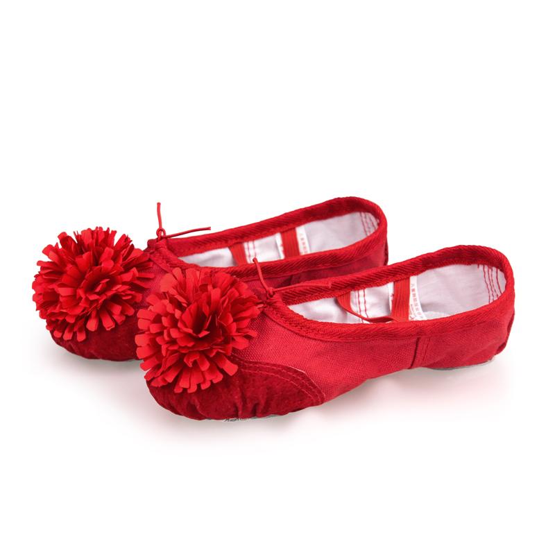 儿童舞蹈鞋女软底练功鞋花朵鞋粉色中国芭蕾舞鞋幼儿园宝宝跳舞鞋