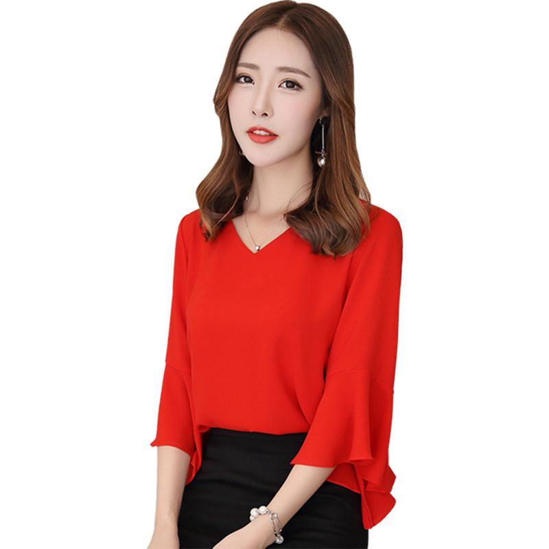 雪纺衫女装2019夏季新款红色超仙女喇叭袖V领很仙的上衣洋气短袖