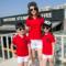 2019红色POLO衫亲子装一家四口纯棉洋气短袖夏装母女装潮幼儿园