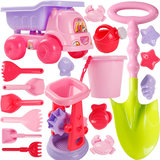 Children's beach toy car set large baby playing sand digging hourglass shovel tool cassia girl toy