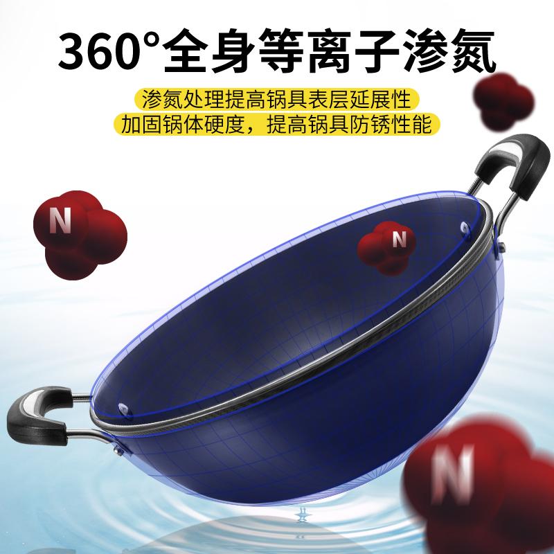 双耳铸铁炒锅平底电磁炉煤气灶家用炒菜锅炖锅无涂层不粘锅生铁锅