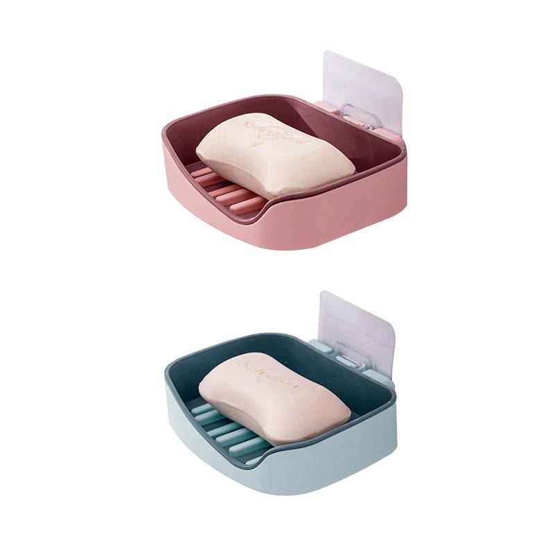 肥皂盒吸盘壁挂式沥水免打孔双层浴室卫生间便携香皂置物架皂盒