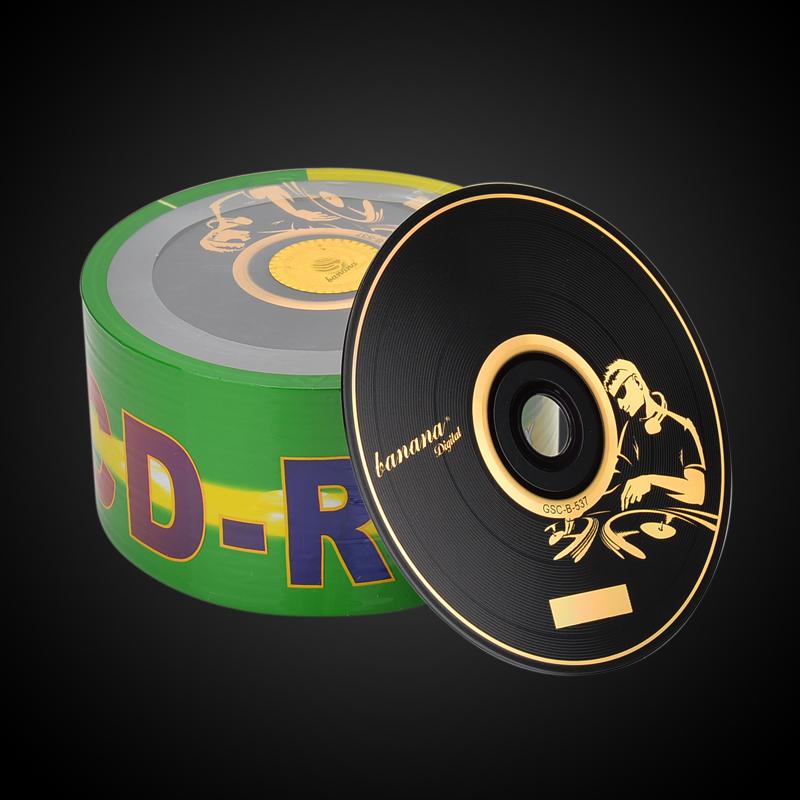 正品香蕉CD刻录盘 50片桶装空白光盘铼德光碟包邮VCD烧录无损黑胶CD-R