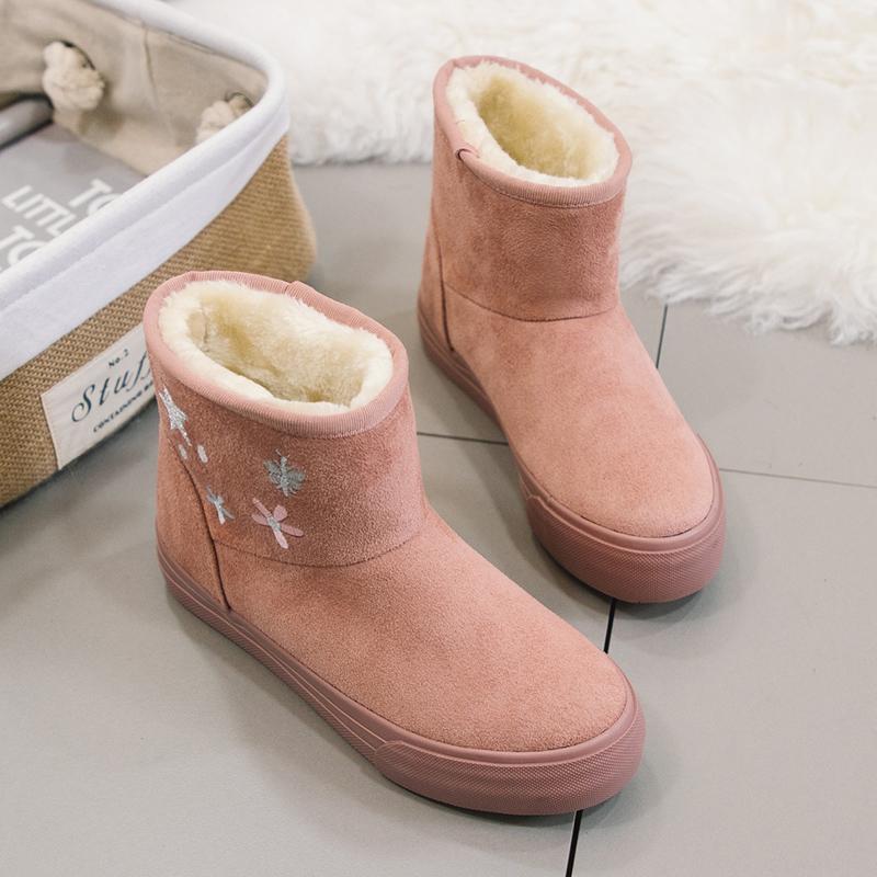 新款雪地靴加绒小白鞋板鞋冬季短靴女鞋二棉鞋 2018 反季清仓棉鞋女