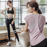 Yoga clothing female short-sleeved suit breathable trousers were thin temperament slim hips running outdoor sports fitness women