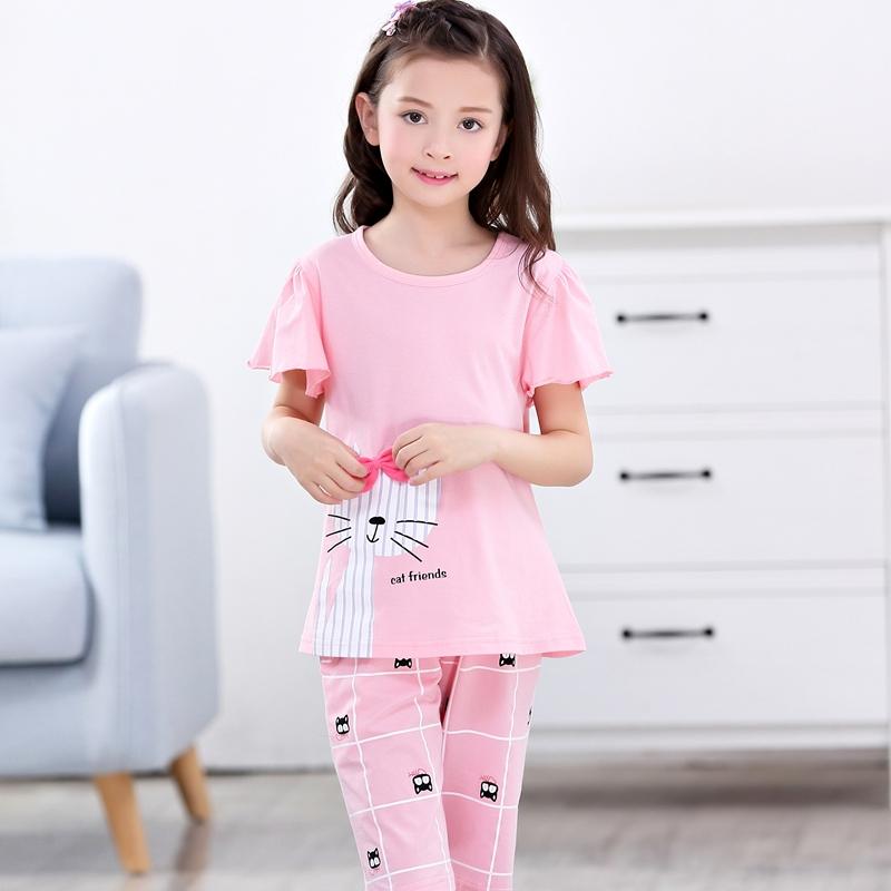 儿童睡衣女童短袖纯棉夏季女孩宝宝薄款空调房家居服大童亲子套装