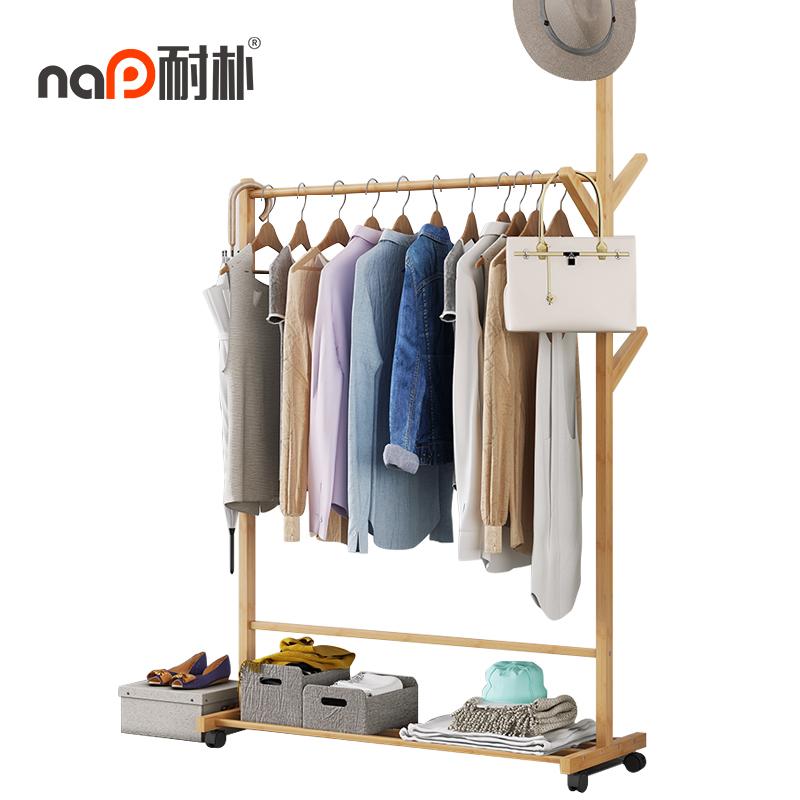 衣帽架挂衣架落地卧室简易衣服架子家用衣架多功能移动置物经济型