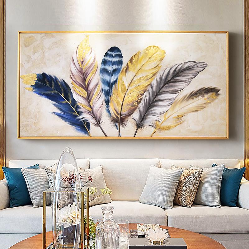 DUDUO都多|美式手繪油畫客廳輕奢裝飾畫玄關豎版彩色羽毛墻壁掛畫