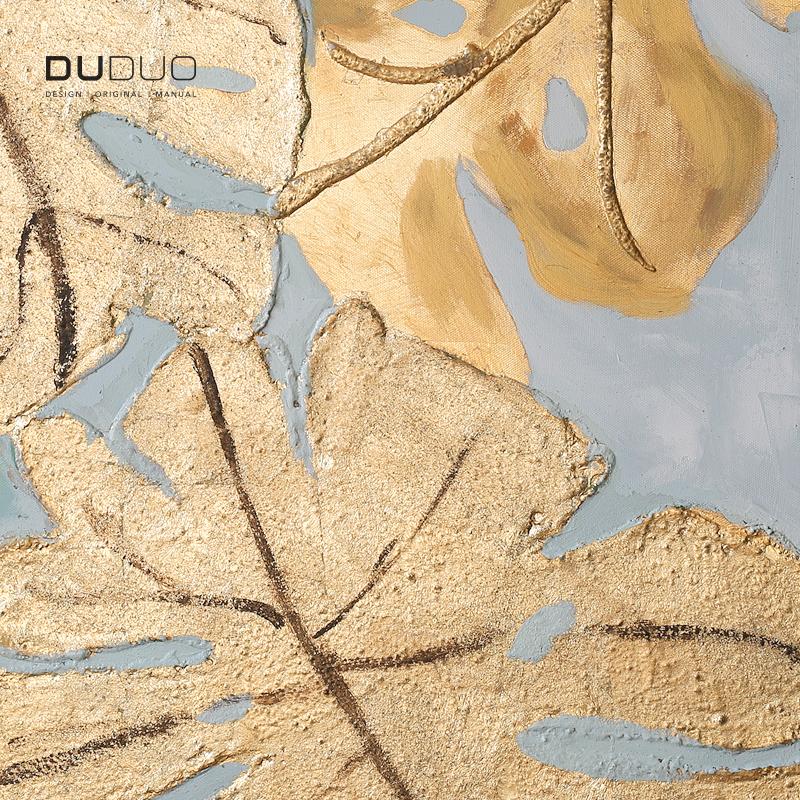 DUDUO都多|歐式輕奢手繪油畫客廳裝飾畫玄關畫豎版金色龜背竹掛畫