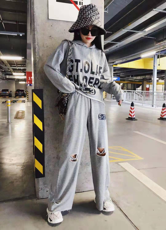 欧洲站休闲账动卫衣套装女潮 秋装新款大码宽松时尚洋气两件套  2019