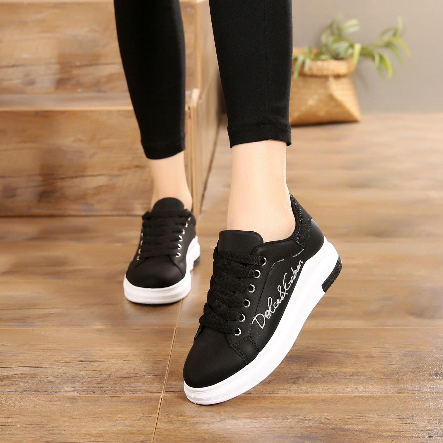 冬季皮面女鞋加绒保暖棉鞋韩版百搭潮流运动鞋休闲鞋学生平底跑步