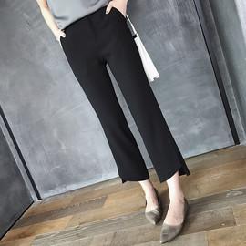 阔腿裤女2019秋冬新款黑色显瘦开叉微喇叭裤高腰休闲九分直筒裤子