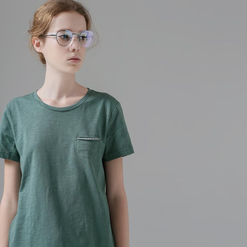 初语女装夏装宽松圆领纯色直筒百搭打底衫纯棉短袖T恤女