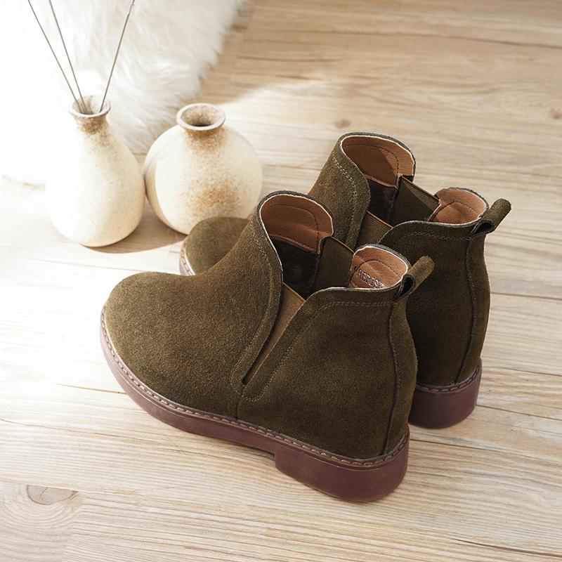 春秋冬季2019新款磨砂马丁靴英伦内增高小短靴女坡跟靴子女鞋单靴